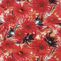 Bomuldsjersey økotex m/digitalt tryk med store blomster i rød