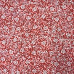 Bomuld/lycra økotex med blomster i rød og hvid