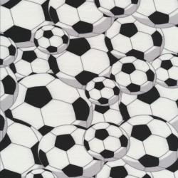 Bomuld/lycra økotex med fodbolde i hvid og sort