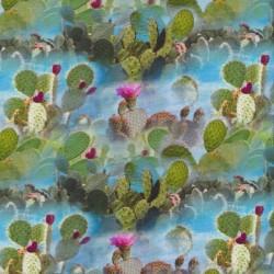 Bomuldsjersey økotex m/digitalt tryk med kaktus