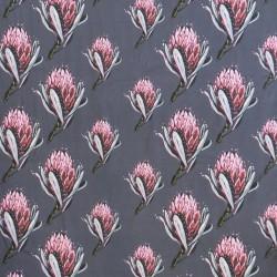 Bomuldsjersey m/digitalt tryk med artiskok blomst i støvet grå-blå