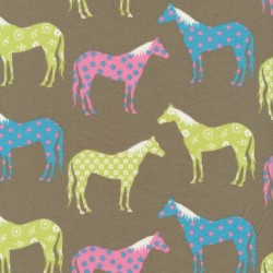 Bomuld/lycra økotex grå-grøn med heste