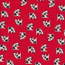 Bomulds jersey økotex rød med køer
