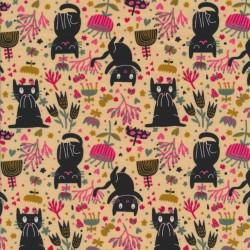 Bomuld/lycra økotex i lys laks med sorte katte og blomster