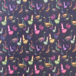 Afklip Bomuldsjersey GOTS digital print sort med høns 60x40 cm.