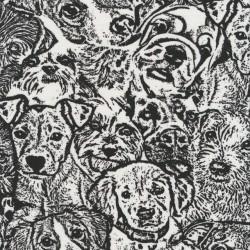 Bomuld/lycra økotex med tegning af hunde hoveder i sort og hvid