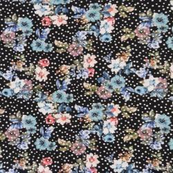 Bomuld/lycra økotex med digitalt tryk med blomster og prikker i sort - turkis