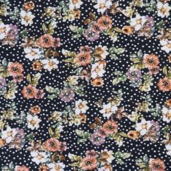 Bomuld/lycra økotex med digitalt tryk med blomster og prikker i sort - orange
