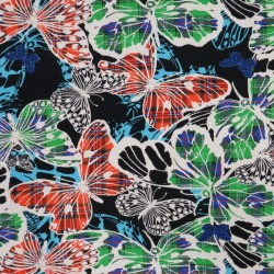 Bomuldsjersey med sommerfugle med tern i digitalprint