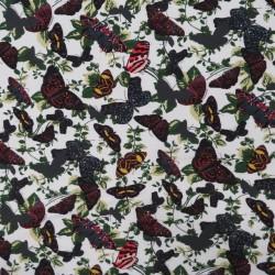 Bomuld/lycra økotex i knækket hvid med sommerfugle