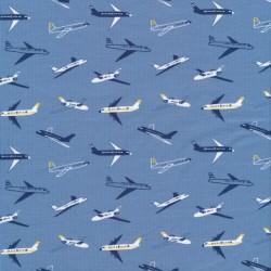 Bomulds jersey økotex i denimblå med flyvamaskiner