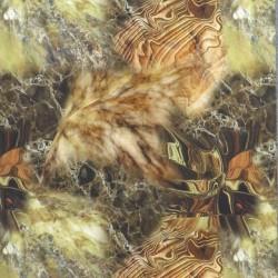 Bomuldsjersey i marmor-look i digitalprint i oliven brændt orange og brun