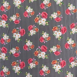 Bomuldsjersey i sort med digitalprint med striber og blomster