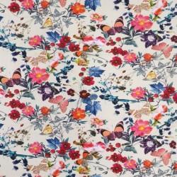 Bomuldsjersey i offwhite med digitalprint med sommerfugle blomster og bær