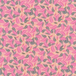 Bomuld/lycra økotex med blad print i laks, lyserød og grå-grøn