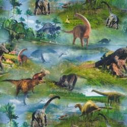 Afklip Bomuld/lycra økotex m/digitalt tryk med dinosaurus 40x60 cm.