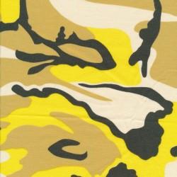 Bomuld/lycra økotex m/army-print i gul