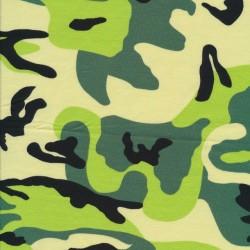Bomuld/lycra økotex m/army-print i grøn