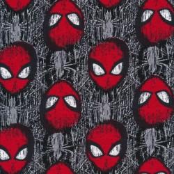 Rest Bomuld/lycra økotex med Spiderman maske i grå og rød- 30 cm.