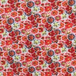 Bomuld/lycra økotex m/digitalt tryk med blomster i rød blå hvid