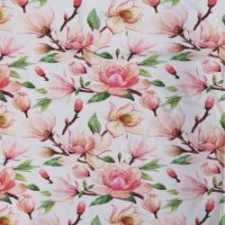 Bomuldsjersey økotex m/digitalt tryk i hvid med Magnolie