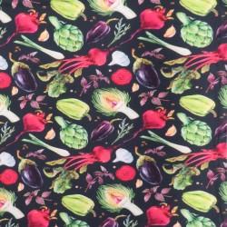 Bomuldsjersey økotex m/digitalt tryk i sort med grøntsager
