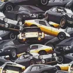 Afklip Bomuld/lycra med sportsvogn i grå og gul, 39x60 cm.