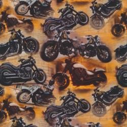 Bomuld/lycra økotex m/digitalt tryk med motorcykler