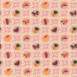 Bomuld/lycra økotex i lyserød med blomster i cirkel med motiver