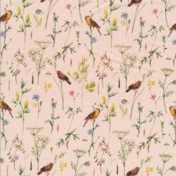 Bomuldsjersey økotex m/digitalt tryk i sart rosa med fugle