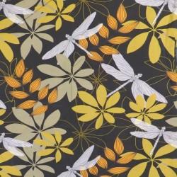 Bomuldsjersey økotex m/digitalt tryk i sort med stor blomst og guldsmed