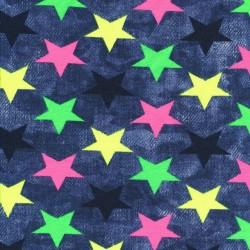 Bomuld/lycra økotex i denim look med neon stjerner