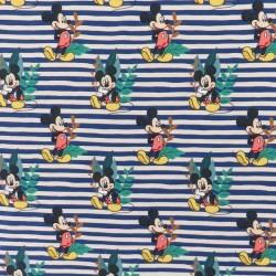 Bomulds jersey med digitalt tryk stribet med Mickey