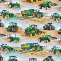 Afklip Bomuld/lycra økotex m/digitalt tryk, med traktor i lyseblå og grøn 40x60 cm.
