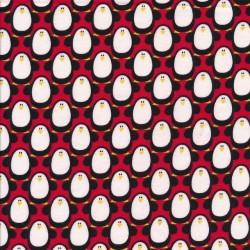Bomuldsjersey GOTS i rød med pingviner