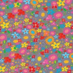 Afklip Bomuld/lycra økotex m/digitalt tryk i grå med multifarvede blomster 40x60 cm.
