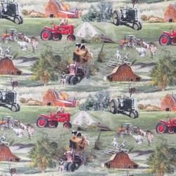 Afklip Bomuld/lycra økotex m/digitalt tryk, med traktor og dyr, 40x60 cm.