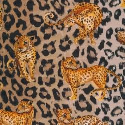 Afklip Bomuld/lycra økotex m/digitalt tryk dyreprint med leopard 40x60 cm.
