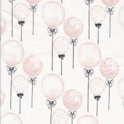 Bomuld/lycra økotex m/digitalt tryk hvid med balloner - sløjfe