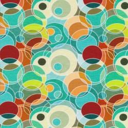 Bomuld/lycra økotex m/digitalt tryk cirkler i aqua, irgrøn, rød