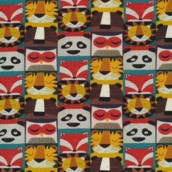 Afklip Bomuld/lycra økotex m/digitalt tryk med tegnede dyrehoveder 40x60 cm.