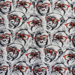 Bomuld/lycra økotex m/digitalt tryk med tegnede aber med briller
