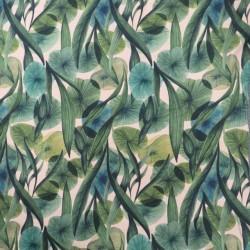 Bomuld/lycra økotex m/digitalt tryk med blade i grøn
