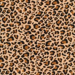 Bomulds jersey i leopard print i lys beige sort gylden