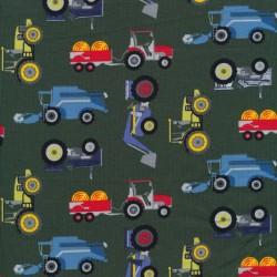 Bomulds jersey i mørk army med traktor