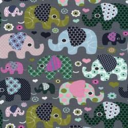 Bomulds jersey i mørk grå med elefanter