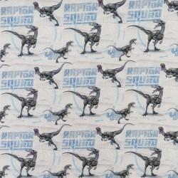 Bomuld/lycra økotex med dinosaurus/Raptor