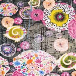 Bomuldsjersey økotex m/digitalt tryk med mønstrede cirkler i sort pink