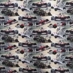 Afklip Bomuldsjersey økotex m/digitalt tryk med F1 biler 40x60 cm.