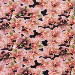 Bomuldsjersey økotex m/digitalt tryk med orkideer